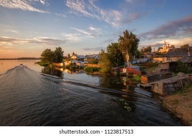 Summer evening in Kostroma, Russia.  Provincial cityscape.