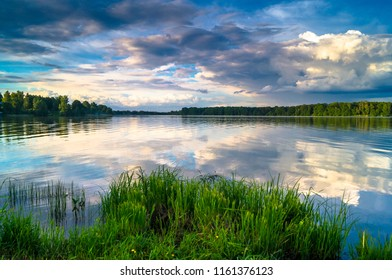 Summer evening landscape on the Lake Biserovo, Moscow region, Russia.