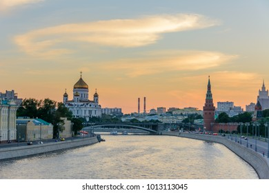 Summer evening in Moscow. Moscow river. Russia.