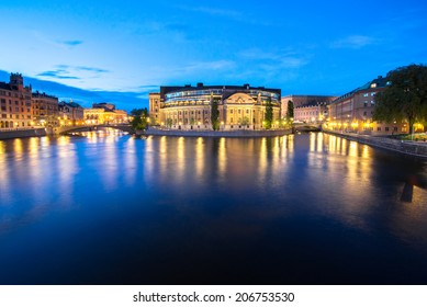 Summer evening panorama of the Old Town (Gamla Stan) in Stockholm, Sweden