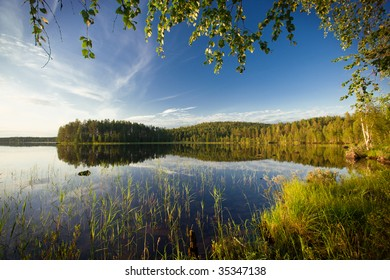summer evening scene at Ruunaa hiking area, Finland