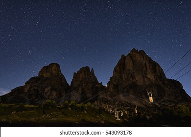 A summer evening at the Sella Pass, Dolomites