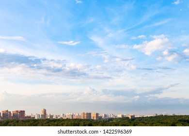 summer evening sky over modern residential district of Moscow city