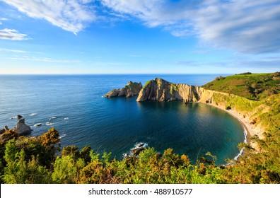 Summer evening top view on Del Silencio (Gaviero) beach (Biscay Bay, Asturias, Spain). Atlantic Ocean coastline landscape.