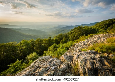 Summer evening view of the Shenandoah Valley from Franklin Cliffs Overlook, on Skyline Drive, in Shenandoah National Park, Virginia.