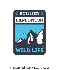 Summer expedition vintage isolated badge. Mountaineering symbol, forest explorer sign, touristic camping label, nature recreation illustration.