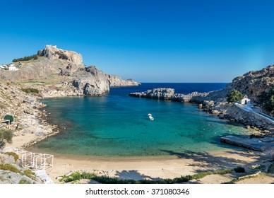 Summer family beach. St Paul's bay, Lindos Rhodes Greece