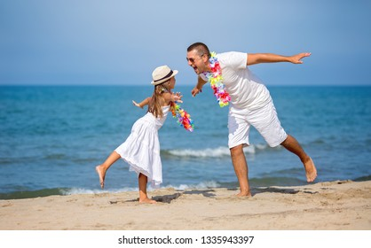 Summer, family, vacation concept. Father with daughter having fun