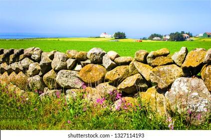 Summer farmland stone fence view. Stone fence view. Countryside stone fence scene. Rural stone fence landscape