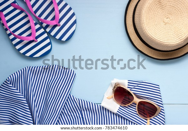 Summer fashion accessories with hat, sunglasses and clothing