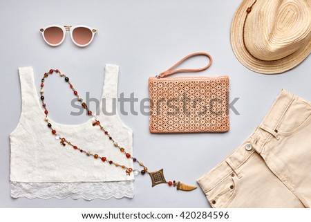 Summer Fashion Girl Clothes Set Accessories Stock Photo (Edit Now ... c824a99ac9e