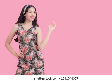 Summer Fashion smiling Women in Trendy spring and fashion working women for work day, pink background and pastel tone. Lifestyle and Summer Fashion