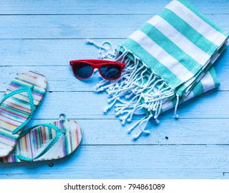 Summer fashion, vacation concept, free space before text. Top view