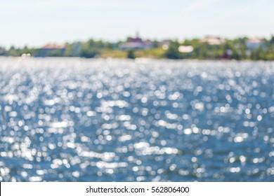 Summer finnish bay in bokeh, defocused background