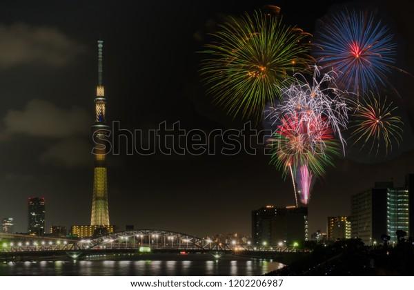 Summer firework festival in Tokyo,Japan ; 2018 July 29