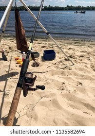 the summer fishing on the river in the beach