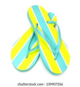 Summer flip-flops on a white background