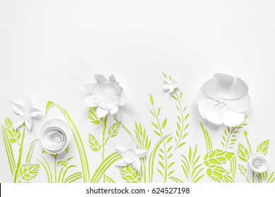 Summer flowering meadow. White flowers carved from paper on a white background with green leaves. Cut of paper