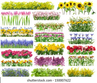 Summer flowers bed and floral borders set collage. All full size images You can find in my portfolio