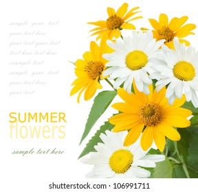 Summer flowers bouquet isolated on white with sample text