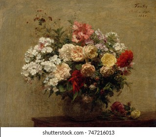 Summer Flowers, by Henri Fantin-Latour, 1880, French impressionist painting, oil on canvas. The dahlias, phlox, and roses in the bouquet were picked near the artistx90s country home in Bure, Normandy