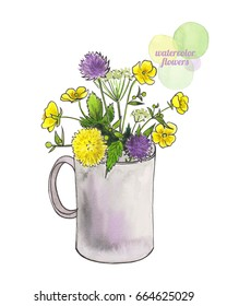 Summer flowers in cup. Watercolor hand-drawn illustration isolated on white.