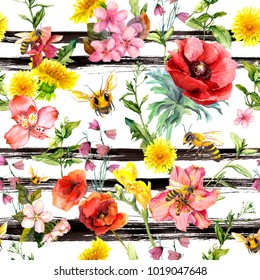 Summer flowers, meadow grass, bees at monochrome striped background. Repeating floral pattern. Watercolor with black stripes