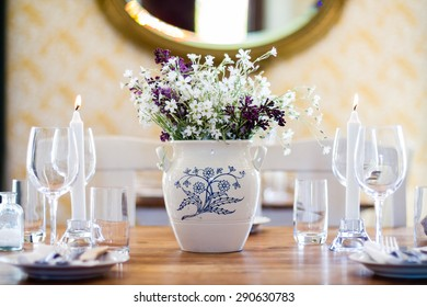 Summer flowers on dining table