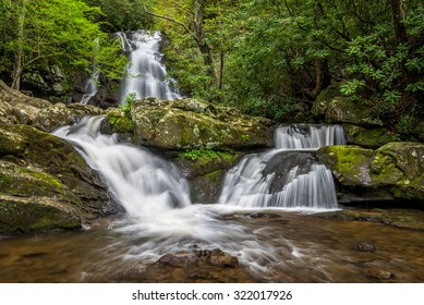Summer foliage at Spruce Flats Falls in the Great Smoky Mountain National Park.