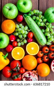 summer food with fresh fruits and vegetables top view