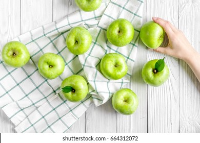 summer food with green apples on white background top view