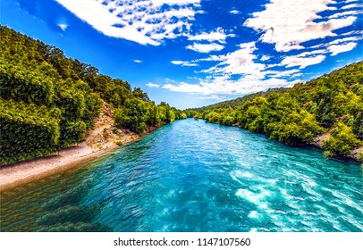 Summer forest river range landscape. Forest river water in summer scene. Forest river water panoramic landscape