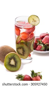 Summer fresh fruit Flavored infused water mix of strawberry and kiwi, isolated
