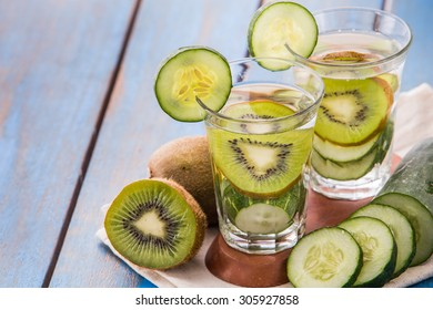 Summer fresh fruit Flavored infused water mix of cucumber and kiwi