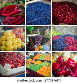 Summer fresh fruits and vegetables collage
