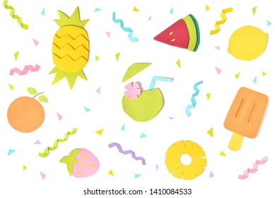 Summer fruit paper cut on white background - isolated