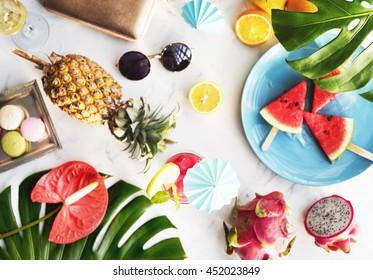 Summer Fruits Beach Sand Holiday Concept