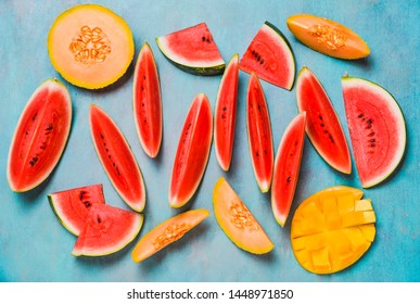 Summer fruits.Fruits slices, watermelon and melon , mango.