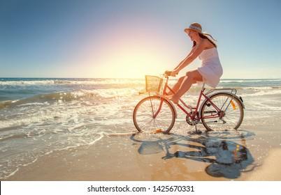 summer fun on the beach  riding along