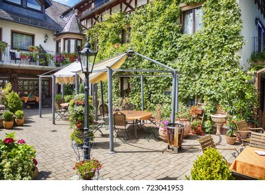summer garden in German family cafe
