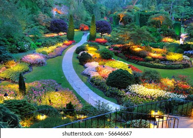 summer garden lighting in butchart gardens, victoria, bc, canada