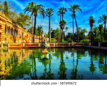 Summer garden view of Alcazar, Sevilla, Spain