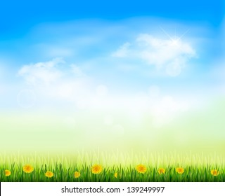 Summer gaze background with blue sky and a field of dandelions. Raster version of vector.