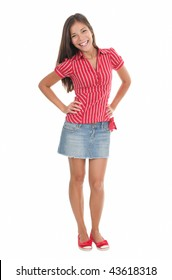 Summer girl in full length in red isolated on white background. Beautiful mixed race chinese / caucasian model.