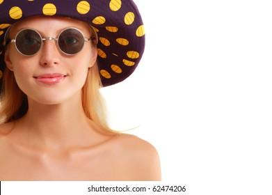 summer girl isolated on white background
