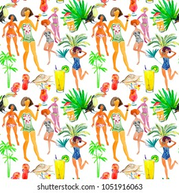 Summer girl poses set. Seamless watercolor pattern.