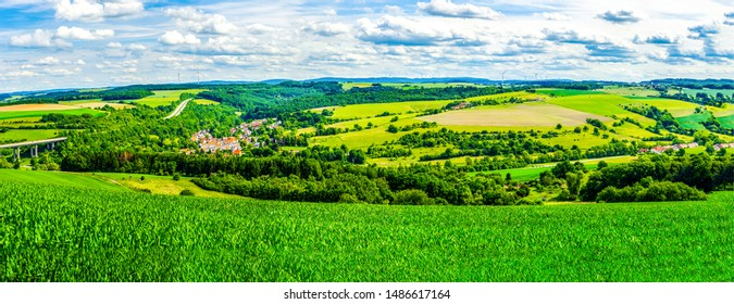 Summer green mountain valley meadow panorama. Mountain green valley panoramic landscape. Mountain green valley panorama. Green mountain valley panorama