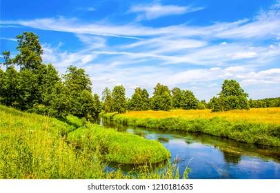 Summer green rural river landscape. River summer nature view. Summer river panorama. Nature river landscape