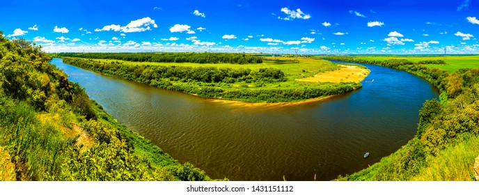 Summer green valley river panoramic landscape. Green nature river panorama. Summer river top view panoramic landscape. Summer river panorama