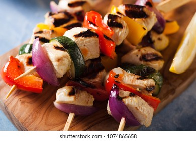 Summer grilled chicken kebabs and vegetables